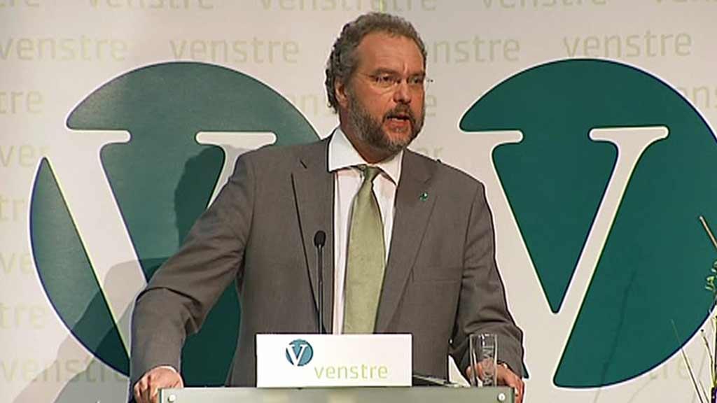 AVSKJED: Lars Sponheim holdt sin siste tale som Venstre-leder fredag. (Foto: Cathrine Eldorhagen/TV 2)