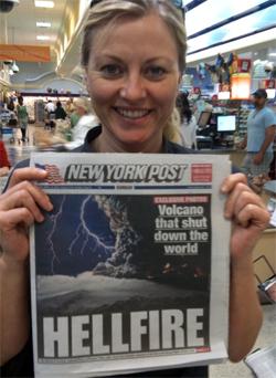 Vulkanen preger også de amerikanske avisforsidene. (Foto: StormGeo)