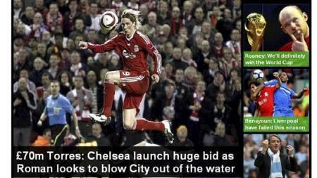 Fernando Torres (Foto: Faksmilie: The Daily Mail/)