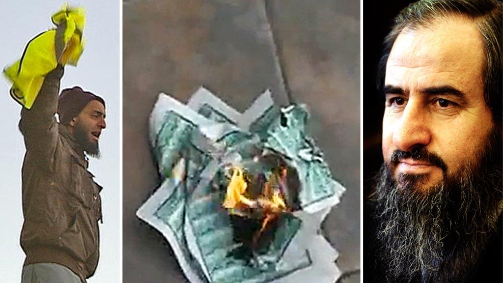 STØTTER DRAPSTRUSLER: Den omstridte 24-åringen Mohyeldeen Mohammad ber en av sine Facebook-venner, Irfan Bhatti, «om å spre denne fatwa vår onkel har gitt ut», etter at ko kurdere rev ut og brente deler av Koranen. (Foto: Montasje)