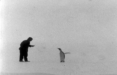 Maskinist Knut Sundbeck i hyggelig passiar pingvin.