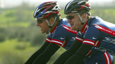 Lance Armstrong og Floyd Landis (Foto: MIGUEL RIOPA/AP)