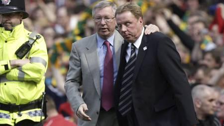 MØTES TIL DUELL: Sir Alex Ferguson og Harry Redknapp. (Foto: Jon Super/Ap)