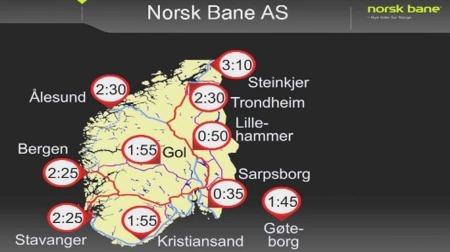 Oversikt over reisetid mellom Oslo og diverse destinasjoner. (Foto: Norsk Bane AS)