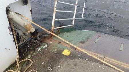Bilferga «Tresfjord» fikk skader etter det kraftige sammenstøtet.