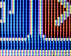 Alle fargene på skjermen din er bygget opp av røde, grønne og blå bildepunkt. (Foto: wikimedia commons)