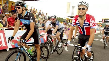 Edvald Boasson Hagen og Thor Hushovd fra Tour de France 2010. Hushovd i den norske mestertrøyen. (Foto: Junge, Heiko/NTB scanpix)