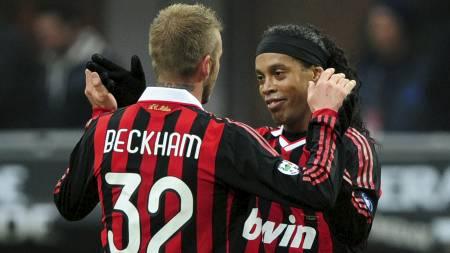 David Beckham og Ronaldinho (Foto: GIUSEPPE CACACE/AFP)