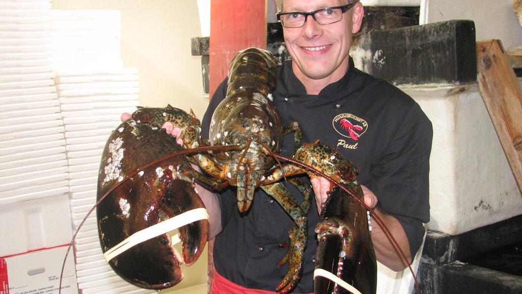 Paul Arvell har døpt den ti kilo store hummeren «Big Jimmie». Til tv2nyhetene.no sier Paul at monsteret skal få leve. (Foto: PRIVAT / Kristin Arvell)