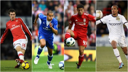 Aaron Ramsey (Arsenal), Jack Rodwell (Everton), Daniel Pacheco   (Liverpool) og Nathan Delfouneso (Aston Villa) (Foto: SCANPIX/TV 2)