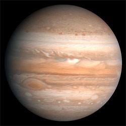 Jupiter er den største planeten i solsystemet. (Foto: NASA)