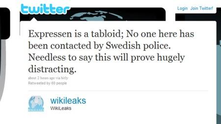 Wikileaks skriver på Twitter at påstandene til Expressen ikke er sanne.  (Foto: Faksimile Twitter)