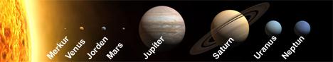 Solsystemet vårt. Planetene er i riktige størrelsesforhold, men ikke i riktig avstand fra hverandre og solen. (Foto: Wikipedia Commons)