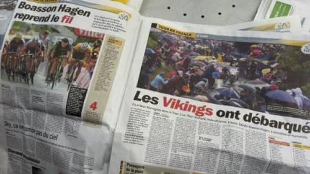 Franske aviser om seieren til Edvald Boasson Hagen. (Foto: FAKSIMILE/)