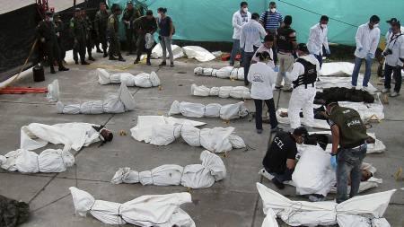 22 DREPT: 22 soldater fra FARC-geriljaen ble drept i et angrep i den colombianske jungelen søndag. (Foto: HO/Reuters)
