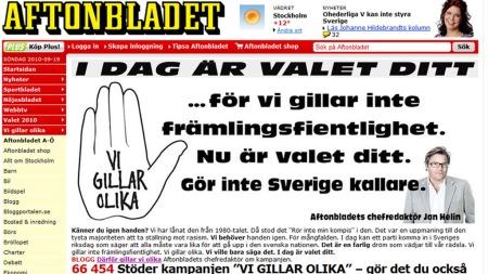 Aftonbladets nettforside på valgdagen. (Foto: FAKSIMILE)