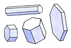 De lange krystallene danner halo, de flate bisoler. (Foto: Caltech)
