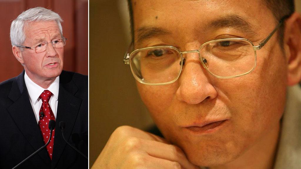VINNEREN KÅRET: Kl. 11 fredag annonserte leder for Nobelkomiteen, Torbjørn Jagland, årets Fredsprisvinner: Den kinesiske menneskerettighetsaktivisten Liu Xiaobo. (Foto: SCANPIX)