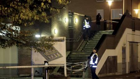 Leilighetskomplekset hvor det ble avfyrt skudd gjennom et vindu torsdag kveld. (Foto: Prvulovic, Drago/Scanpix)