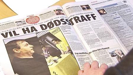 Blomseths syn på dødsstraff kom til uttrykk under et bystyremøte i Tromsø. Dagen etter var saken slått stort opp i lokalavisen Nordlys. (Foto: TV 2)