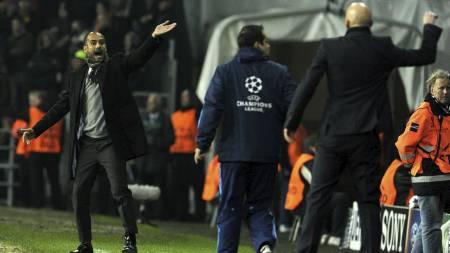 Josep Guardiola gestikulerer foran Ståle Solbakken (Foto: JAVIER SORIANO/Afp)