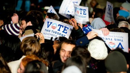 Demokratene prøver å skaffe unge velgere ved Universitetet i Pennsylvania, 1.november i år. (Foto: JEFF FUSCO, ©jf/aa)
