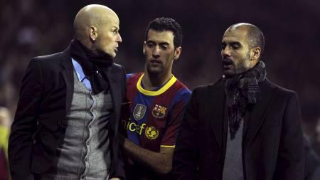 Ståle Solbakken og Pep Guardiola i krangel etter kamp. (Foto: JAVIER SORIANO/Afp)