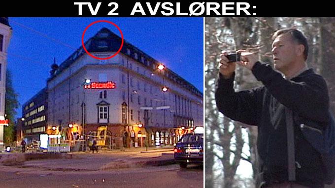 Topp med banner overvåket nordmenn (Foto: TV 2)