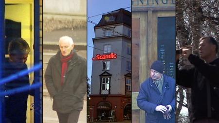 TAUSE: Synnøve Paulsen (tidligere politiavdelingssjef i Kripos), Olaf Johansen (tidligere politiinspektør og anti-terrorsjef i Politiets Overvåkingstjeneste), Ivar Follestad (tidligere politiavdelingssjef i Kripos) og Gunnar Tveit (Delta-veteran) har ikke villet snakke om jobbene for den amerikanske ambassaden. Den hemmelige overvåkingsgruppen har bestått av mellom 15-20 personer. (Foto: TV 2)