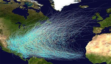 Banen til alle tropiske sykloner mellom 1851 og 2005. (Foto: NHC)