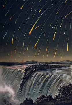 Slik skal det ha sett ut i Nord-Amerika under Leonidene i 1833. (Foto: Wikimedia Commons)
