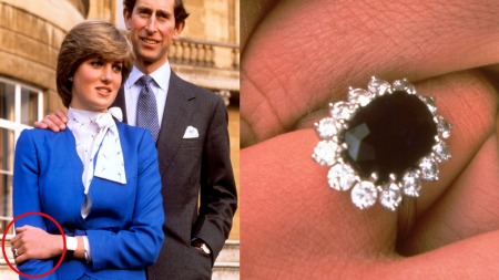 HER ER RINGEN: Prinsesse Diana valgte ut ringen da hun forlovet seg med prins Charles. (Foto: Scanpix)