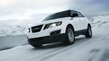Her er splitter nye Saab 9-4X - i Norge. Bilde fra www.youtube.com.