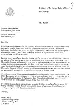 Dette brevet fra USAs ambassade avslører at Odd Berner Malme var en av to politimenn som fikk vite om overvåkingsgruppen allerede i 2000. (Foto: Faksimile)