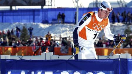 SPRENGT AV MÜHLEGG:  Per Elofsson måtte bryte 30 km i OL i Salt Lake City i 2002. (Foto: Wicklund, Anders/SCANPIX)