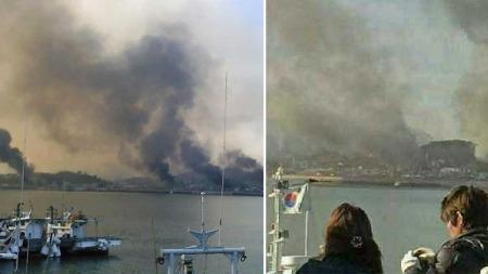 ILDVEKSLING MELLOM NORD OG SØR: Nord-Korea angrep tirsdag morgen   Yeonpyeong-øya med artilleri. 70 bygninger sto i brann etter angrepet.   (Foto: Montasje)