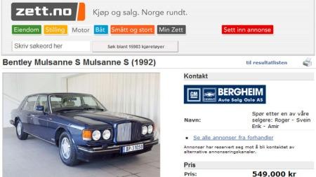 Bentley-annonse