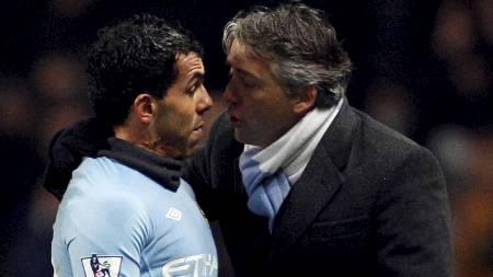 Carlos Tévez og Roberto Mancini. (Foto: DARREN STAPLES/Reuters)