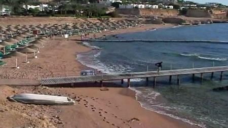 RIBBET: Hai-frykten har skremt nesten alle turistene bort fra strendene i Sharm el-Sheikh.