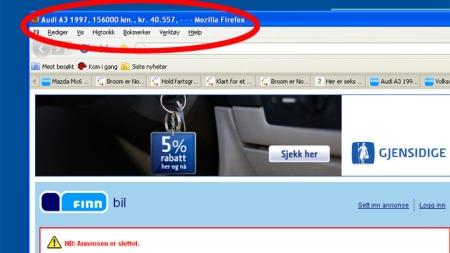 Annonsen er slettet, men tittellinja ligger igjen. Faksimile fra www.finn.no