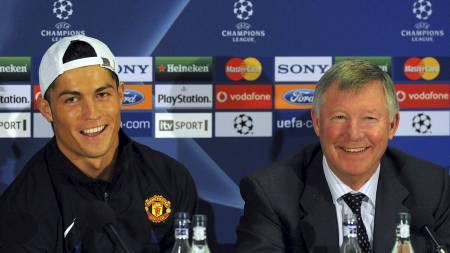 SAVNER GAMLESJEFEN: Cristiano Ronaldo innrømmer at han savner gamlesjefen Sir Alex Ferguson. (Foto: PAUL ELLIS/AFP)