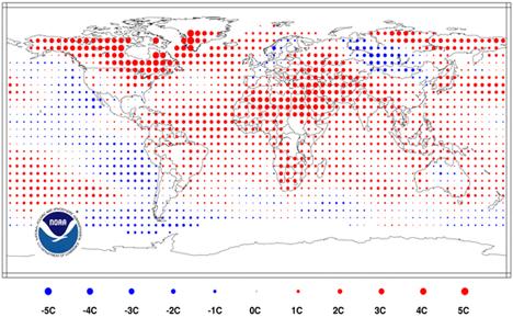 Avvik fra normal (1971-2000) temperatur for perioden januar til og med november 2010. (Foto: NOAA)