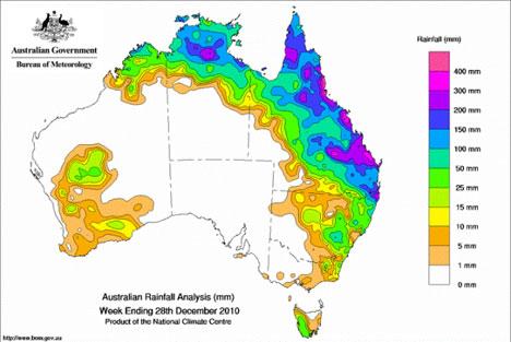 Kartet viser nedbøren som falt den siste uken av desember. Det var dette regnværet som utløste flommen i Queensland. (Foto: Australian Bureau of Meteorology)