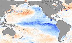 Fargene viser hvordan temperaturen endrer seg under La Niña. De blå områdene er kaldere enn normalt, de røde varmere. (Foto: NASA)