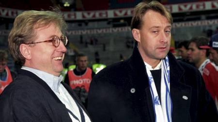 MØTER PRESSEN: Kjell Inge Røkke og Bjørn Runde Gjelsten. (Foto: Bendiksby, Terje/NTB scanpix)