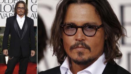 UTEN SLØYFE: Johnny Depp satset på en smoking fra Ralph Lauren Black Label.