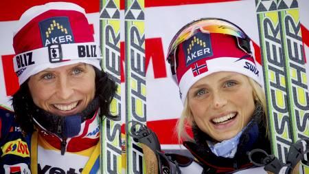 OVERRASKET OVER BJØRGEN: Jorunn Sundgot-Borgen er overrasket over Marits Bjørgens (t.v.) reaksjon. Therese Johaug til høyre. (Foto: Lien, Kyrre/SCANPIX)