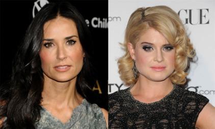MYKT: Både Demi Moore og Kelly Osbourne, som har firkantet ansiktsform, sørger for myke linjer rundt ansiktet. Krøller og bølger gjør at ansiktskonturene blir mindre harde.