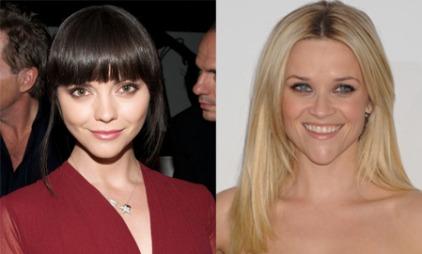 LUGG ER BRA: Christina Ricci balanserer sitt hjerteformede ansikt og relativt store panne, med en tung lugg. Reese Witherspoon har en rett og lang frisyre som gjør at haken står mer frem.
