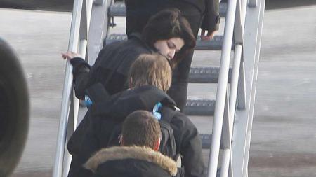 Marie Amelie og kjæresten Eivind Trædal gikk mandag ombord i dette Aeroflot-flyet på Gardermoen for å bli sendt hjem tilbake til Russland. (Foto: Heiko Junge)